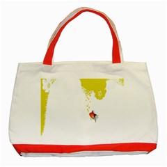 Fish Underwater Yellow White Classic Tote Bag (Red)