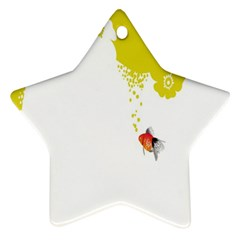 Fish Underwater Yellow White Star Ornament (Two Sides)