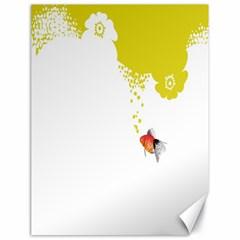 Fish Underwater Yellow White Canvas 18  x 24