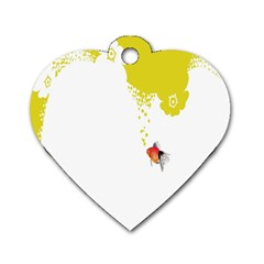 Fish Underwater Yellow White Dog Tag Heart (two Sides)