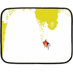 Fish Underwater Yellow White Fleece Blanket (mini)