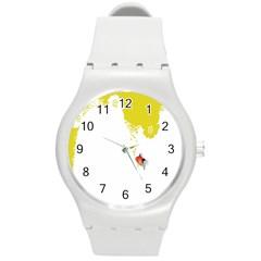 Fish Underwater Yellow White Round Plastic Sport Watch (M)