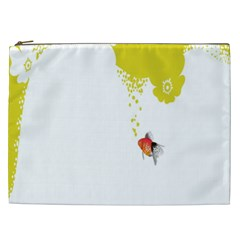 Fish Underwater Yellow White Cosmetic Bag (XXL)