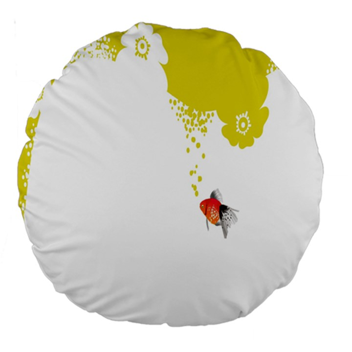 Fish Underwater Yellow White Large 18  Premium Round Cushions