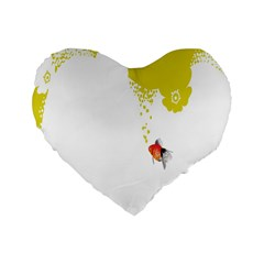 Fish Underwater Yellow White Standard 16  Premium Heart Shape Cushions