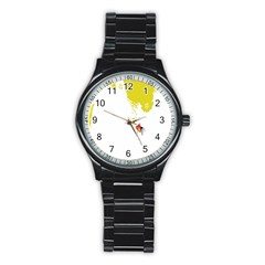 Fish Underwater Yellow White Stainless Steel Round Watch