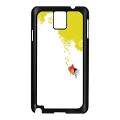 Fish Underwater Yellow White Samsung Galaxy Note 3 N9005 Case (Black)