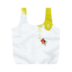 Fish Underwater Yellow White Full Print Recycle Bags (M)