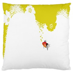 Fish Underwater Yellow White Large Flano Cushion Case (Two Sides)