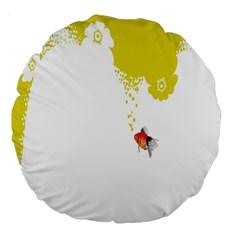 Fish Underwater Yellow White Large 18  Premium Flano Round Cushions