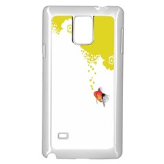 Fish Underwater Yellow White Samsung Galaxy Note 4 Case (White)