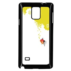 Fish Underwater Yellow White Samsung Galaxy Note 4 Case (Black)