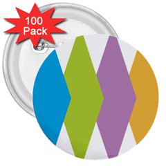 Chevron Wave Triangle Plaid Blue Green Purple Orange Rainbow 3  Buttons (100 pack)