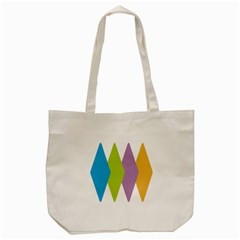 Chevron Wave Triangle Plaid Blue Green Purple Orange Rainbow Tote Bag (cream)