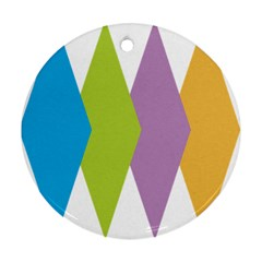 Chevron Wave Triangle Plaid Blue Green Purple Orange Rainbow Round Ornament (Two Sides)
