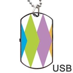 Chevron Wave Triangle Plaid Blue Green Purple Orange Rainbow Dog Tag USB Flash (Two Sides)