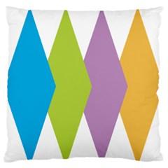 Chevron Wave Triangle Plaid Blue Green Purple Orange Rainbow Standard Flano Cushion Case (One Side)