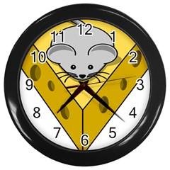 Cheese Mose Yellow Grey Wall Clocks (Black)