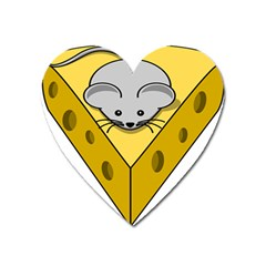 Cheese Mose Yellow Grey Heart Magnet