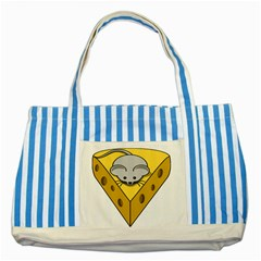 Cheese Mose Yellow Grey Striped Blue Tote Bag
