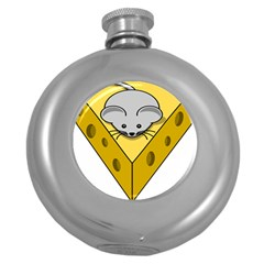 Cheese Mose Yellow Grey Round Hip Flask (5 Oz)