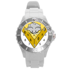 Cheese Mose Yellow Grey Round Plastic Sport Watch (L)