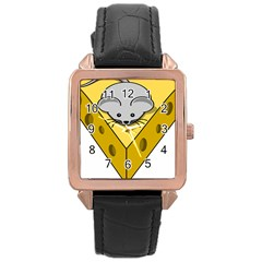 Cheese Mose Yellow Grey Rose Gold Leather Watch