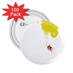 Fish Underwater Yellow White 2 25  Buttons (100 Pack)