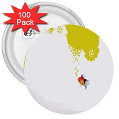 Fish Underwater Yellow White 3  Buttons (100 pack)