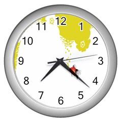 Fish Underwater Yellow White Wall Clocks (Silver)