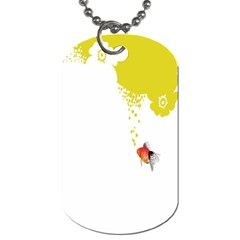 Fish Underwater Yellow White Dog Tag (Two Sides)
