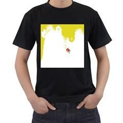 Fish Underwater Yellow White Men s T-Shirt (Black) (Two Sided)
