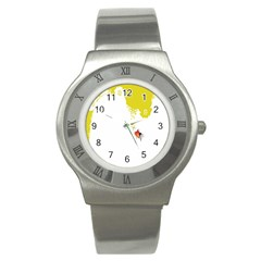 Fish Underwater Yellow White Stainless Steel Watch