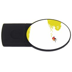 Fish Underwater Yellow White USB Flash Drive Oval (4 GB)