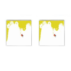 Fish Underwater Yellow White Cufflinks (square)