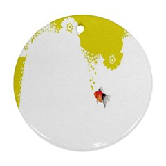 Fish Underwater Yellow White Round Ornament (Two Sides)