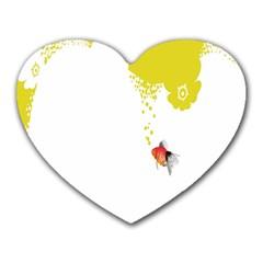 Fish Underwater Yellow White Heart Mousepads