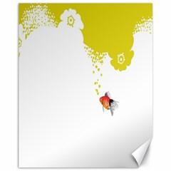 Fish Underwater Yellow White Canvas 11  x 14
