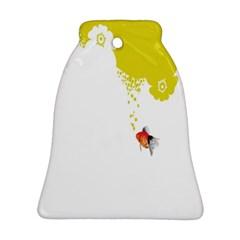 Fish Underwater Yellow White Ornament (Bell)