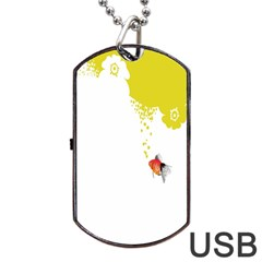 Fish Underwater Yellow White Dog Tag USB Flash (Two Sides)