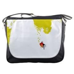 Fish Underwater Yellow White Messenger Bags