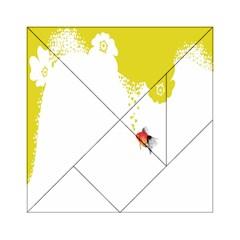 Fish Underwater Yellow White Acrylic Tangram Puzzle (6  x 6 )