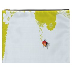 Fish Underwater Yellow White Cosmetic Bag (XXXL)