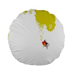 Fish Underwater Yellow White Standard 15  Premium Round Cushions
