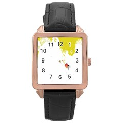 Fish Underwater Yellow White Rose Gold Leather Watch