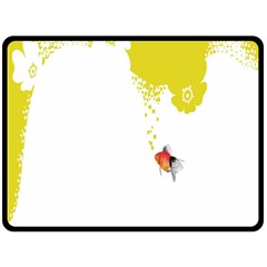 Fish Underwater Yellow White Double Sided Fleece Blanket (Large)