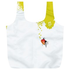 Fish Underwater Yellow White Full Print Recycle Bags (L)