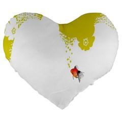 Fish Underwater Yellow White Large 19  Premium Flano Heart Shape Cushions