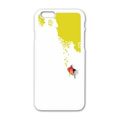 Fish Underwater Yellow White Apple iPhone 6/6S White Enamel Case