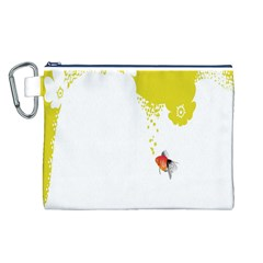 Fish Underwater Yellow White Canvas Cosmetic Bag (L)